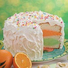 An easy sherbert cake everyone will love. Keeps well in the freezer!