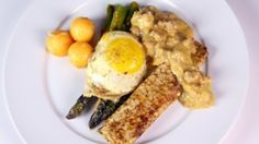 Asparagus Milanese with Apricot Blintz