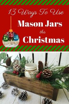 The History of Mason Jars If you do a little bit of homework on the history of Mason jars, you will quickly discover that the Mason jar was invented and patented in 1858 by a Philadelphia tinsmith named. Pot Mason, Mason Jar Gifts, Mason Jar Diy, Christmas Mason Jars, Rustic Christmas, All Things Christmas, Christmas Time, Christmas Ideas, Christmas 2017