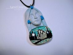 Spirit of the Mountains white & blue polymer clay jewelry resin pendant necklace One of a Kind handmade by LynzCraftz on Etsy