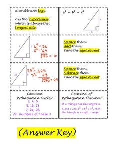Pythagorean Theorem Graphic Organizer  Task Card Practice