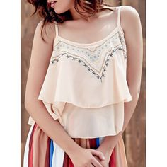 Embroidered Layered Cami Tank — 13.84 € -------------------------Size: ONE SIZE(FIT SIZE XS TO M) Color: PINK