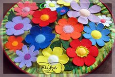 Развивающий коврик, Developıng mat, felt, из фетра, цветы из фетра, цветочная пояна, keçeden, keçe