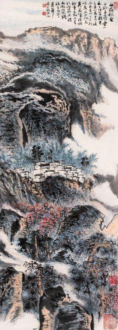 "Lu Yanshao(陆俨少) , 白岳秋云. 陆俨少在山水画中独创了两种新技法,一是""留白"",即以水墨留出白痕,用来表现云雾、泉水、山径和浪花。二是""墨块""。即留白要以墨色反衬,以浓墨积点成块。他还擅长用长线条描水勾云和水纹,且勾云是以较细的拖笔中锋画云的阳面,以较淡而毛的环曲线条勾云的阴面。另外,他画石每每空勾无皴,只用一根起伏变化的线条表现山石结构,往往起笔墨迹厚重,直到墨色淡干飞白,才蘸第二次。陆俨少在山水画中独创了两种新技法,一是""留白"",即以水墨留出白痕,用来表现云雾、泉水、山径和浪花。二是""墨块""。即留白要以墨色反衬,以浓墨积点成块。他还擅长用长线条描水勾云和水纹,且勾云是以较细的拖笔中锋画云的阳面,以较淡而毛的环曲线条勾云的阴面。另外,他画石每每空勾无皴,只用一根起伏变化的线条表现山石结构,往往起笔墨迹厚重,直到墨色淡干飞白,才蘸第二次。"