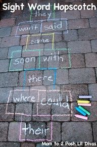 Learn through play with Sight Word Hopscotch (change to suit your learning needs - letters, numbers, vocabulary, colors, etc) Get kids active, outdoors & learning!