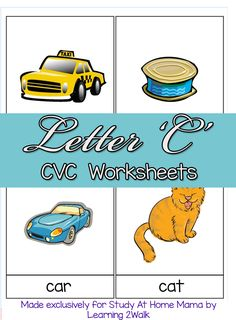 CVC Worksheets: C CVC Words ⋆ Study at Home Mama Kids Learning Activities, Teaching Kids, Montessori Homeschool, Homeschooling, Cvc Worksheets, Preschool Letters, Preschool Ideas, Picture Letters, Montessori Materials