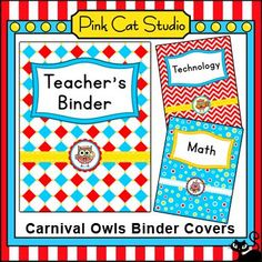 Add some whimsy to your binders with these bright and fun Circus / Carnival Owls theme binder covers. This set is so versatile because you can make any covers that you want with the included blank covers and editable Powerpoint file. Circus Theme Classroom, Owl Classroom, Classroom Activities, Classroom Decor, Teacher Binder Covers, Online Games For Kids, Carnival Themes, Owls, Pink Cat