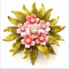 Absolutely One of the Best from Coro -Signed Rhinestone & Enamel Brooch