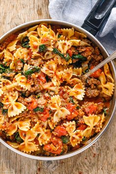 Tomato Spinach Sausage Pasta - - With only 30 minutes of total work, this sausage pasta dinner recipe is simple, fast and delicious! - by Tomato Spinach Sausage Pasta What's for Dinner? Sausage Pasta Recipes, Pasta Dinner Recipes, Chicken Pasta Recipes, Easy Pasta Recipes, Easy Meals, Recipes With Sausage Ground, Turkey Sausage Pasta, Italian Dinner Recipes, Chicken Pasta