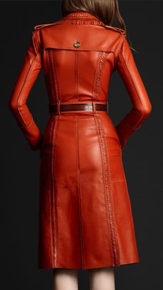 Burberry Prorsum red BROGUE LEATHER TRENCH COAT