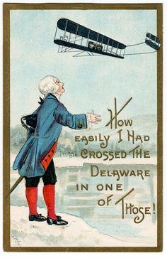 Antique Washington Birthday Postcard - George regarding an airplane.