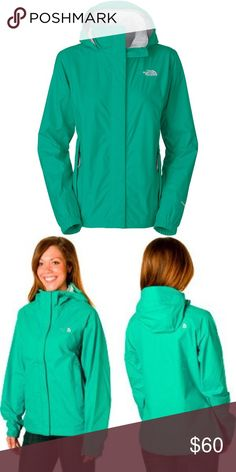 North Face rain jacket Greenish teal north face rain jacket! Worn twice, perfect condition. No tears of stains! Size small The North Face Jackets & Coats