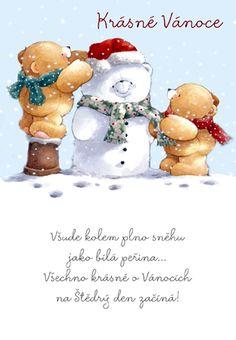 Medvídci a sněhulák - vánoční přání
