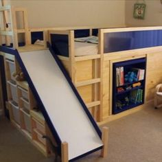 "Using his brain power and an IKEA hack, this Dad built an incredible bed for their son! By all standards, this bed truly qualifies as the ""most awesome bed ever"" which was the only request made by his son! Metal Bunk Beds, Bunk Bed Designs, Dollar Store Christmas, Best Ikea, Kids Bunk Beds, Kura Bed, Cool Beds, Cool Diy, Nifty Diy"
