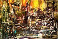 Ольга Крутова. Картина Ночной город после дождя,  пейзаж, абстракция, бумага/акрил, 70х55, продается: