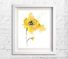 Yellow Flower Watercolor Art Print Flower Wall by Watercolorflower