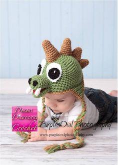Crochet Pattern 005 - Dinosaur Earflap Beanie Hat - All Sizes. Gorros  Tejidos A ... 72b3c715ab7