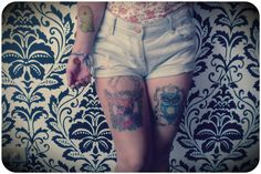 <3 Stockings, Tattoos, Vintage, Fashion, Socks, Moda, Fashion Styles, Pantyhose Legs, Irezumi
