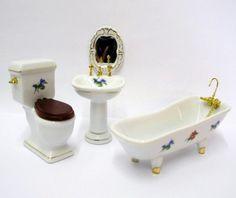 Badezimmer Blüten 4 teiliges Puppenhaus Möbel 1:12 Porzellan | V29801