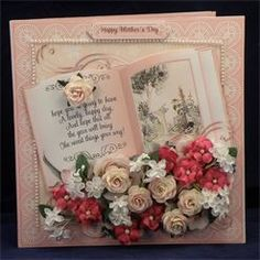 Pink Roses & Lilies Book. 8 x 8 boxed decoupaged card. Available from: www.therhodaharveycollection.co.uk