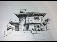 Architectural Sketching - Day 28 - YouTube Architecture Drawing Sketchbooks, Architecture Building Design, Architecture Concept Drawings, Building Sketch, Amazing Architecture, Pavilion Architecture, House Design Drawing, Architect Drawing, Layout