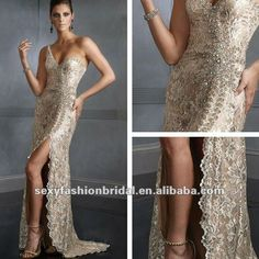 One-shoulder with Embroidery lace A-line natural waist sexy back open formal evening dress gown evening dress fashion 2012