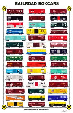 """An 11""""x17"""" poster with some of Andy Fletcher's hand drawings of railroad boxcars part 2."""