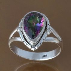 925 STERLING SILVER EXCLUSIVE RAINBOW MYSTIC RING 3.94g DJR8423 SZ-8.5 #Handmade #Ring