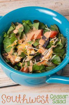 Southwest chicken ceasar salad recipe - a Paradise Bakery copycat with tons of flavor! This is my favorite from my salad recipes! #amomstake