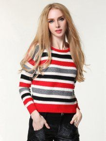 Red Loose Round Neck Casual Striped Woman Sweater