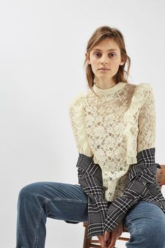 Long Sleeve Lace Ruffle Top - New In- Topshop Europe Ivory Lace Top, Lace Ruffle, Ruffle Top, Oscar Fashion, Who What Wear, Womens Fashion, Fashion Trends, Topshop, Style Inspiration