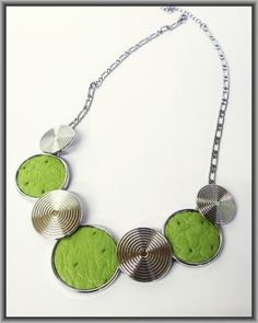 Ostrich Leather necklaces - Chartreuse ON3R2 Leather Necklace, Necklaces, Silver, Jewelry, Leather Collar, Jewlery, Jewerly, Schmuck, Jewels