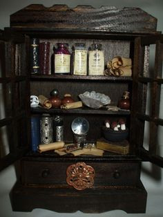 Gothic Witch Halloween Spooky Haunted dollhouse miniature hutch