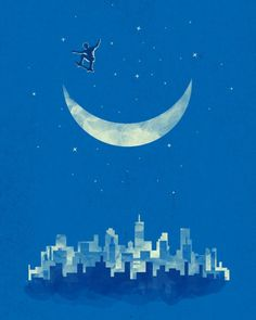 "Surreal Illustrations by Tang Yau Hoong. ""The Midnight Moon Skater""."