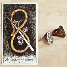 Daughter of Wands ring // The Daughter of Wands is a force of creativity and determination. Women who harness her power usually have rewarding careers in a field they love. They are the world's true and gentle beauties.