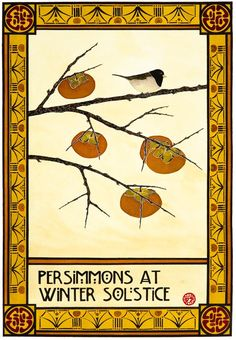 ART PRINT Seasons Series Arts and Crafts Style Persimmons At by PrairieBungalow