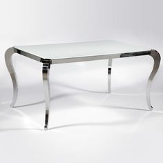 Teresa White Glass Dining Table - Cabriole Legs, Stainless Steel   DCG Stores