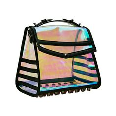 Holo at Me Bag - This ultra cool hologram bag is perfect for a night out! It features a button closure at front flap, a top handle and a detachable/adjustable shoulder strap. Gunmetal studs at bottom, unlined. Pair it with a skater skirt and your favorite crop top! - Found at myWebRoom.com