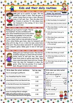 Reading comprehension for elementary level about kids and their daily routines.Comprehension exercises and key included.  - ESL worksheets