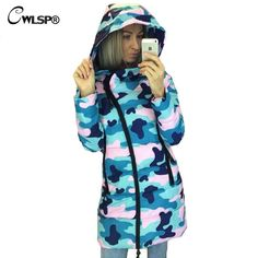 34.12$  Buy now - http://alik0z.shopchina.info/go.php?t=32749001748 - CWLSP Winter Camouflage Star Printed Warm Hooded Coat Womens Fashion Oblique Zipper Cotton Jacket Casual Padded Overcoat QZ1790 34.12$ #aliexpresschina