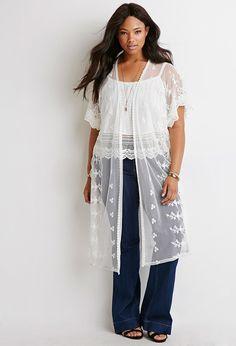 Plus Size Floral-Embroidered Mesh Kimono