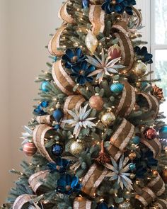 Georgetown Ornament Set - I LOVE my ornaments, but when we have room for two trees, totally having a blue and bronze/gold one!!