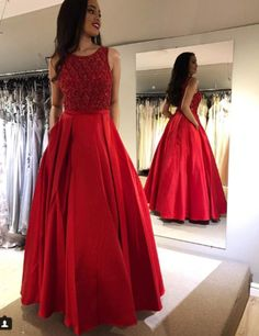 2019 Satin Beaded Prom Dress,Prom Dresses,Prom Dress with Beaded ,Prom Gown,Long Prom Dresses · CocoFashion · Online Store Powered by Storenvy Red Bridesmaid Dresses, Prom Party Dresses, Wedding Bridesmaids, Trendy Dresses, Nice Dresses, Fashion Dresses, Beaded Prom Dress, Dress Prom, Red Gown Prom