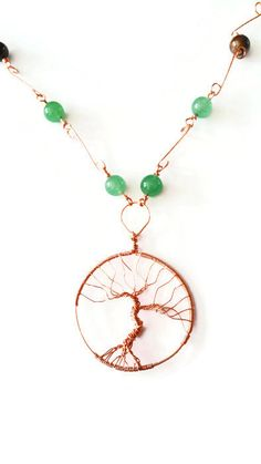 Copper Tree of Life Pendant, Green Aventurine & Tiger Eye Necklace, Copper and Gemstone Necklace, Heart and Root Chakra Necklace