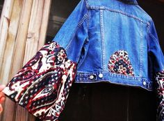 Lg BUTTERFLY SLEEVE JACKET Jean Upcycled Large Hippie