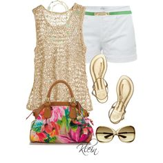 Tory Burch Sandles and white shorts by stacy-klein on Polyvore