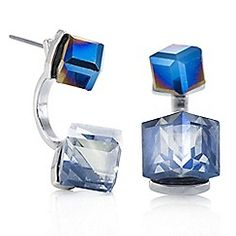 Butterfly by Matthew Williamson - Designer blue crystal cube earring