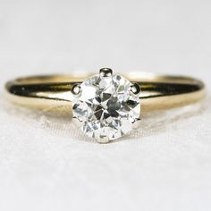 .75ctw Old Mine Cut Solitaire Diamond Ring 14k Gold