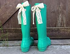 Mint Gloss Rain Boot with Your Choice of Custom Bow by PuddlesNRainBows, $86.00