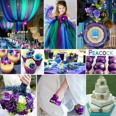 Peacock Wedding Colors - A vibrant and particularly beautiful combination of colors are the Peacock Colors of turquoise, purple, green and blue. <--I don't really want a peacock wedding but I love the decorations Wedding Themes, Wedding Blog, Wedding Planner, Our Wedding, Dream Wedding, Wedding Decorations, Wedding Centerpieces, Wedding Stuff, Wedding Photos